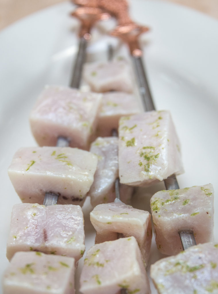 uncooked lime-marinated swordfish kebabs