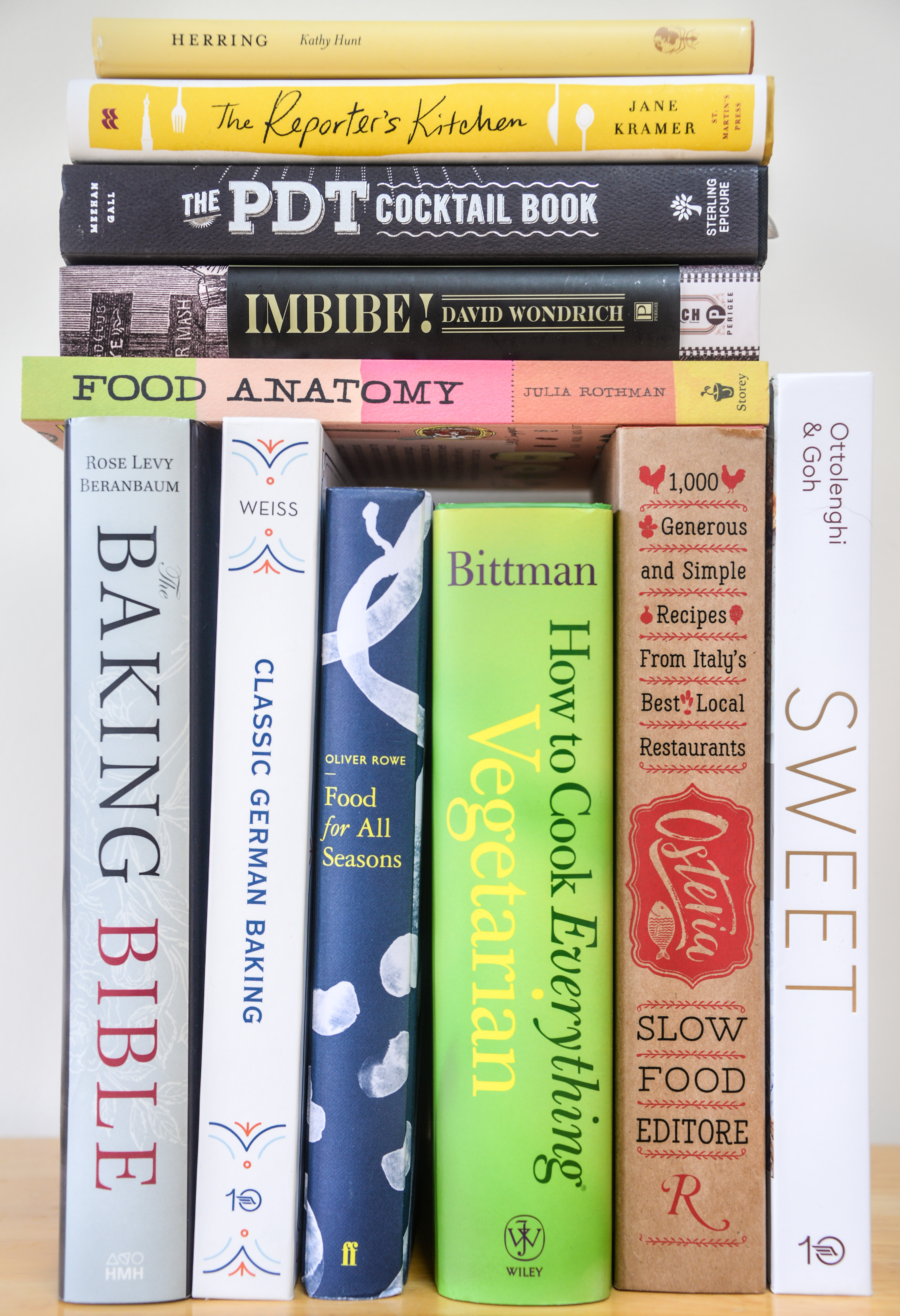 stack of cookbooks